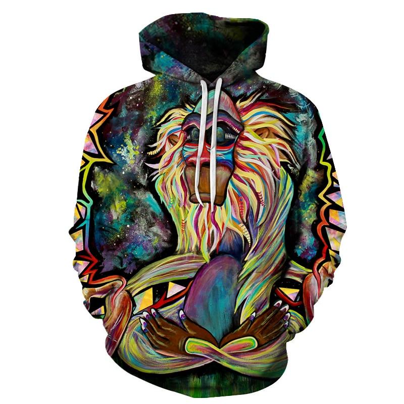 Graffiti Rasta Monkey Elder Meditation Rafiki Hoodie Men women 3d Sweatshirts Wizard Clown Oil Orangutan Printing Hooded hoodies-in Hoodies & Sweatshirts from Men's Clothing