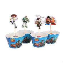 24 pcs Disney Toy Story Theme Birthday Party Cartoon Cupcake Wrappers And Toppers NO Stick Christmas Cake Decorations Supplies
