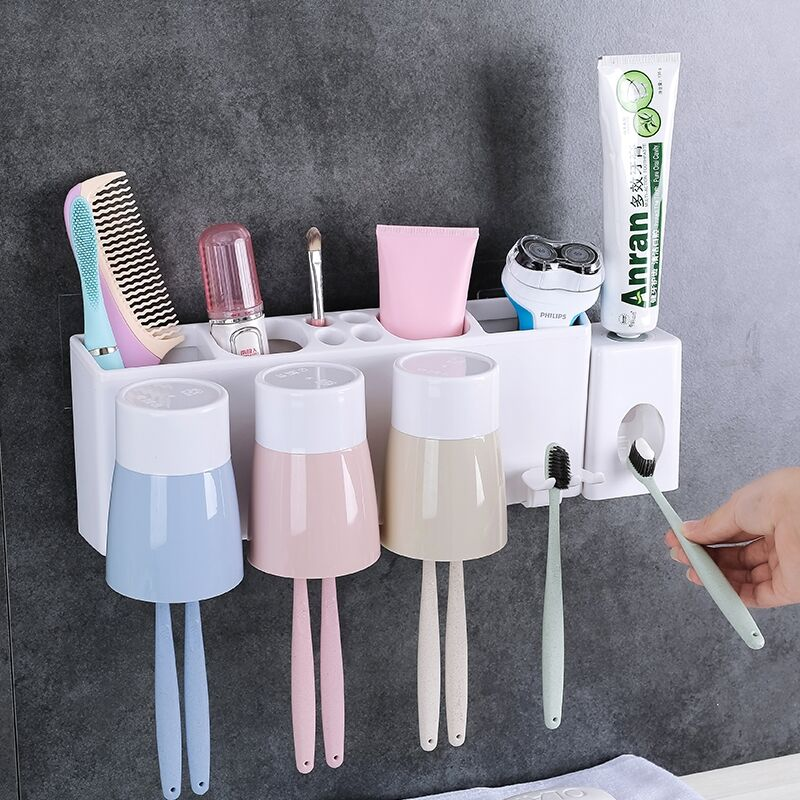 Bathroom Toothpaste Holder  Cute Expression Sucker Toothbrush Holder Bathroom Cartoon Toothbrush Rack Toothbrush Holders