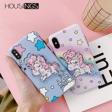 Housings Squishy Unicorn Phone Case For iPhone XR X 8 7 Plus Glitter Quicksand Soft Cover 6 6s Coque Cartoon