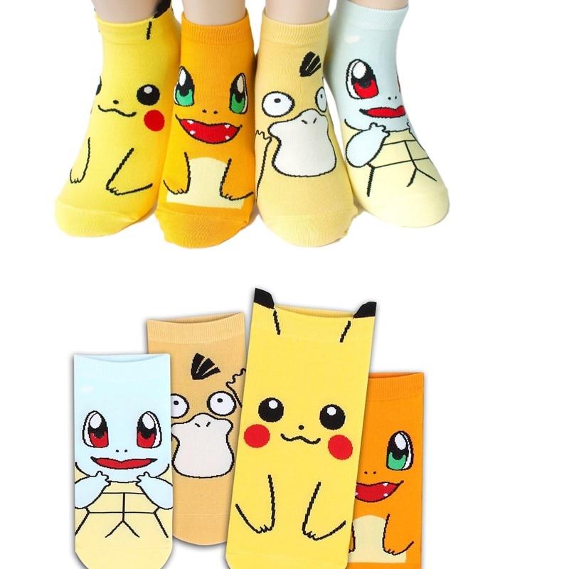 Anime Pokemon Charmander Pikachu Psyduck Squirtle Casual Socks 3D Printed Cartoon Ankle Socks Kawaii Harajuku