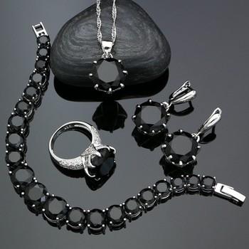 Punk srebrna biżuteria srebrna 925 komplety biżuterii dla kobiet czarne kolczyki z cyrkoniami wisiorek naszyjnik pierścionek bransoletka tanie i dobre opinie XINGTELO SILVER 925 sterling Osoba trzecia oceny homily201904240941 Kryształ Zestawy biżuterii Ślub ROUND Kobiety Grzywny