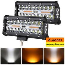 NAO 7 pollici LED Bar Work Light 12V 24V 2 colori 6 illuminazione modalità stroboscopiche 4x4 accessori Off road per Auto SUV camion fendinebbia automatico