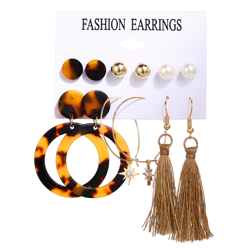 H49361bc679df43219a2e7b8d30fe15a4x - IF ME Fashion Vintage Gold Pearl Round Circle Drop Earrings Set For Women Girl Large Acrylic Tortoise shell Dangle Ear Jewelry