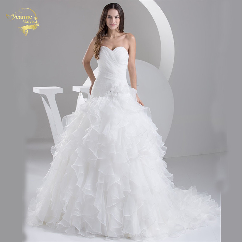 2020 White Louisvuigon Vestido De Noiva Robe De Mariage Bridal Dresses A Line Organza Wedding Dresses 2019 Sweetheart YN 9508