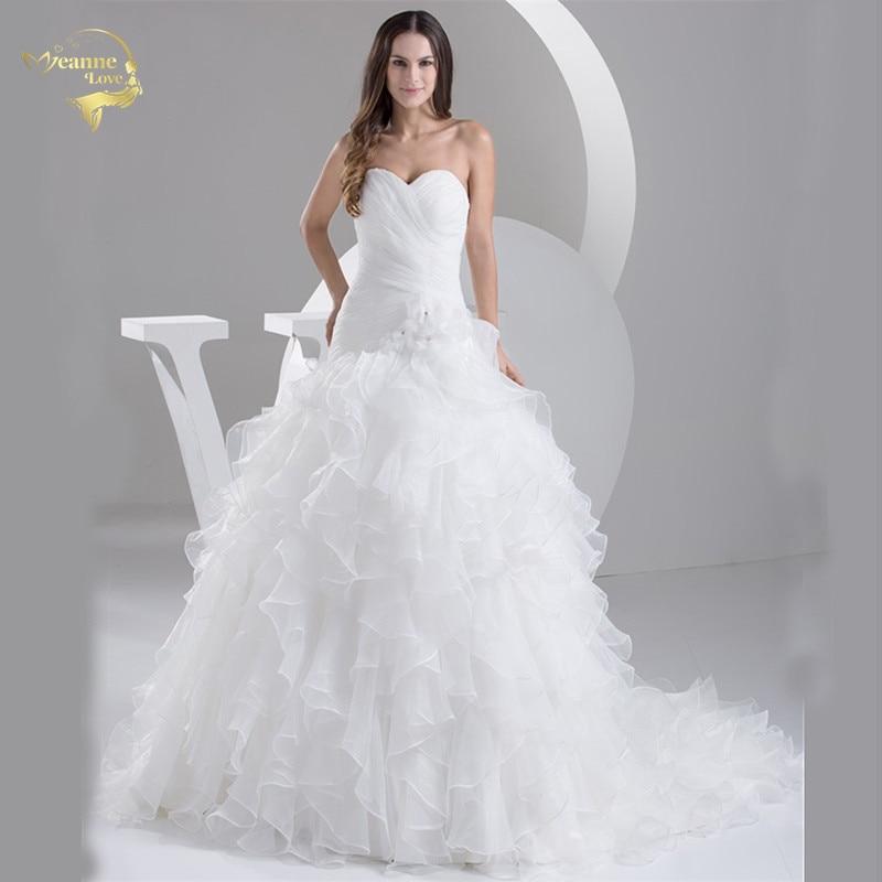 2020 White Louisvuigon Vestido De Noiva Robe De Mariage Bridal Dresses A Line Organza Wedding Dresses 2019 Sweetheart YN 9508