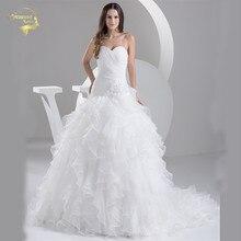 Платья 2016 Белый Louisvuigon vestido де noiva одеяние свадебная свадебное из органзы линии свадебные милая уя 9508