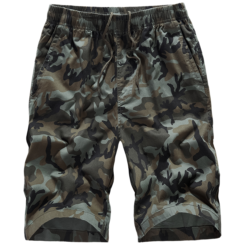 Military Men Shorts Muscle Casual Summer Cotton Stretch Shorts Men Loose Elastic Camouflage Erkek Giyim Fitness Clothing XX60MS