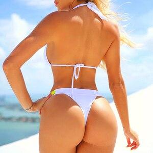 Image 4 - In x 섹시한 흰색 라인 석 비키니 2020 수영복을 밀어 여성 삼각형 수영복 여성 끈 팬티 비키니 세트 여름 수영복 새로운
