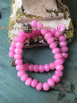 PaveCrystal Accent Spacer Metal Beaded Faceted Pink Jade Beads With Pave Crystal Beaded Boho Stretch Bracelet