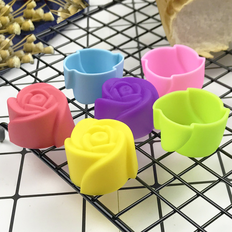 10pcs Rose Mold DIY Food Grade Silicone Mini Cupcake Cake Tool Muffin Cookie Baking Molds Chocolate Soap Pastry Decorating Set