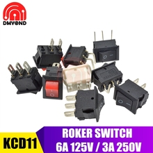 цена на 5PCS Black Red White Boat Rocker Button Switch 10x15mm 2Pin 3Pin 3A 250V Snap-in On-Off On-Off-On 2 3 PIN Without Light