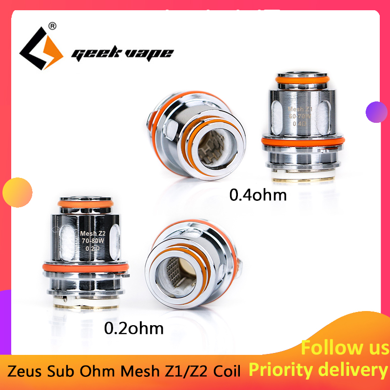 New 5pcs/pack GeekVape Z1 Z2 Mesh Coil With 0.4ohm/0.2ohm Resistance For E-cig Zeus Sub Ohm Tank Atomizer