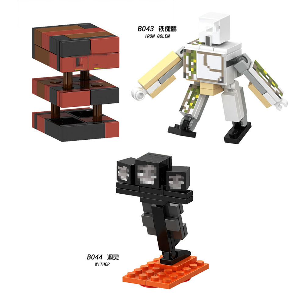 Minecrafted  Building Blocks Golem Wither Figures For Children Compatible Blocks Toys