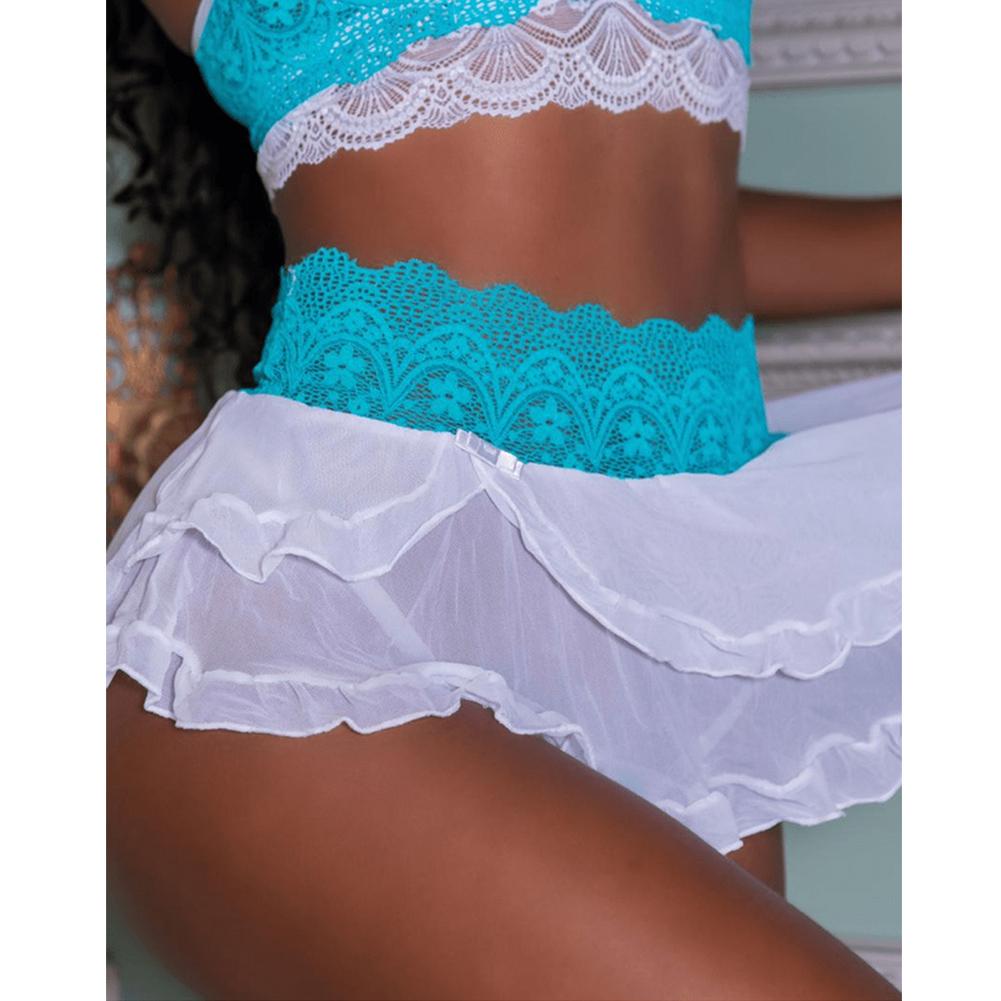 2 Piece Babydoll Lingerie Crop Top Bra And Skirt Lace Sleepwear