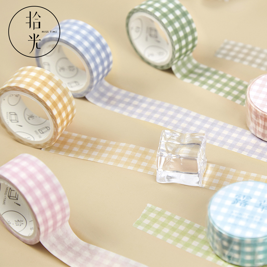 Cute Grid Color Bullet Journal Washi Tape Decorative Adhesive Masking Tape For Stickers Scrapbooking DIY Stationery Tape