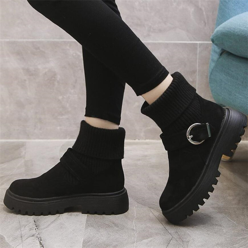Mhysa 2019 New Fashion Platform Winter Boots Women Shoes Black Martin Boots suede Leather slip-on Ankle Boot Buckle Botas Mujer 68
