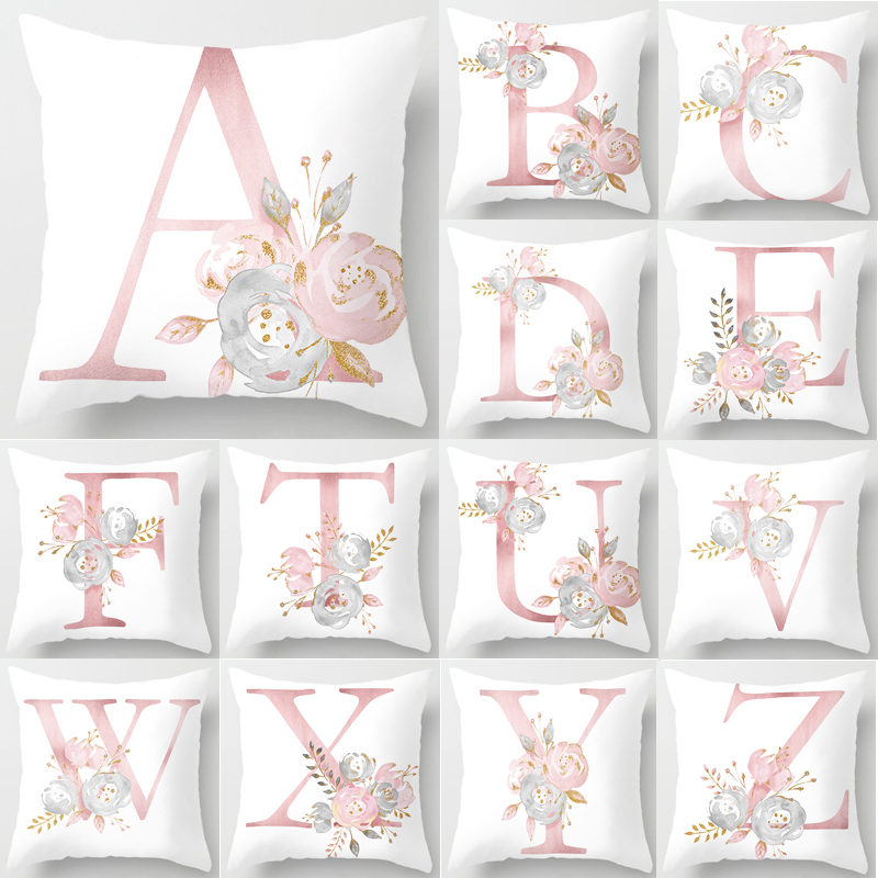 Pillow Letters Pink Floral Decorative Cushions Pillowcase Polyester Cushion Cover Throw Pillow Sofa Decoration Pillowcover 40835