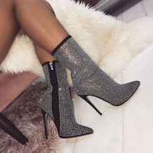 Newest Bling Bling Pointed Toe Rhinestone Thin Heel Ankle Boots Ladies Shining Crystal High Heel Boots Wedding Club Pumps Shoes summer mary janes bling multi gem rhinestone studs metal cage heel satin women ankle strap bridal crystal wedding pumps shoes