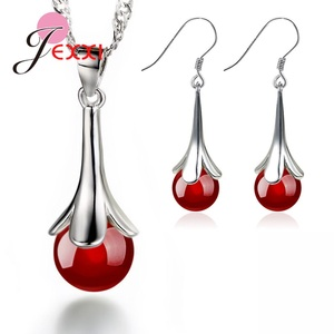 Amazing 925 Sterling Silver Shiny Crystal Red/Black Zirconia Wedding Jewelry Sets For Women/Lady/Girls Fast Dispatch Jewellery(China)