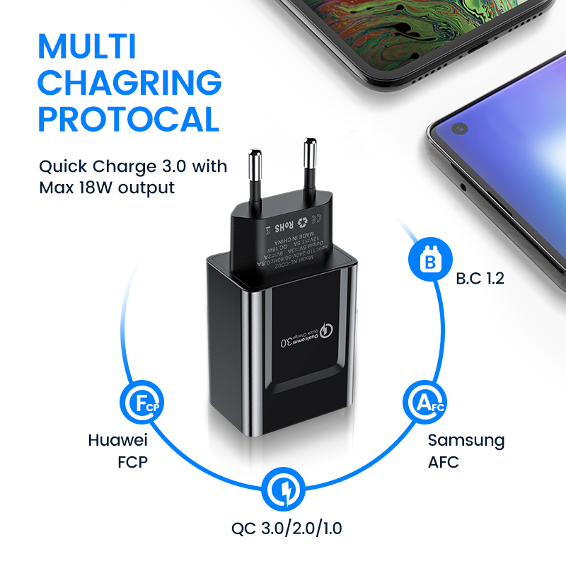 Image 3 - KUULAA Quick Charge 3.0 Mobile Phone Charger USB Charger EU Plug 18W QC 3.0 Fast Charger For Xiaomi Redmi 5 samsung galaxy s9-in Mobile Phone Chargers from Cellphones & Telecommunications