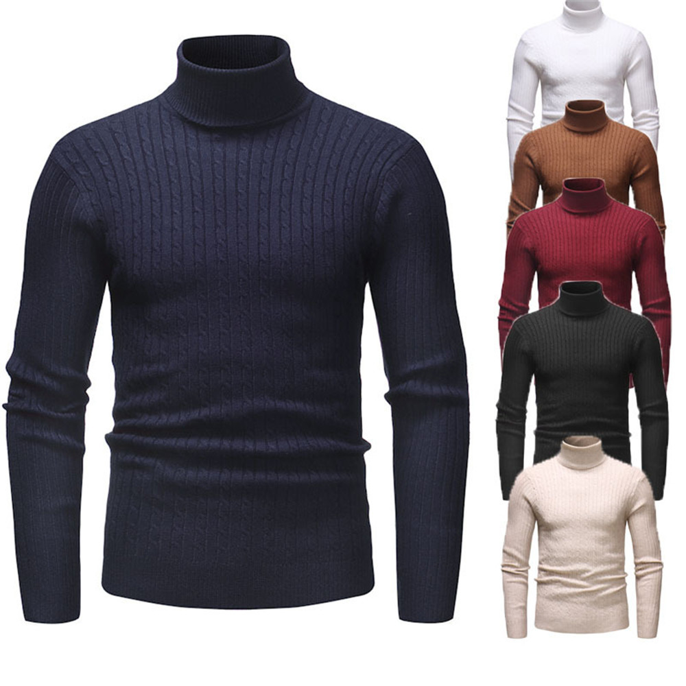 Men's Winter Sweaters Long Sleeve Turtle Neck Men Clothes Knitted Thick Wear Pullovers Classic Solid Color Youth Casual Sweaters