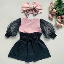 Pudcoco bebê menina roupas crianças polka dot puff manga rosa topos + moda de cintura alta preto shorts crianças 2020 primavera outfits