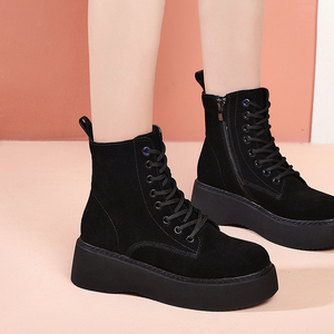 Image 3 - Women Boots Natural suede leather Ankle Boots flat Platform Boots Fashion zipper Thick bottom Black Ladies Shoes
