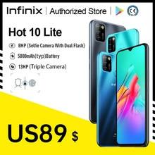 Versão global infinix quente 10 lite 2gb 32gb telefone móvel 6.6 core core hd 1600*720p 5000mah bateria 13mp câmera helio a20 octa core