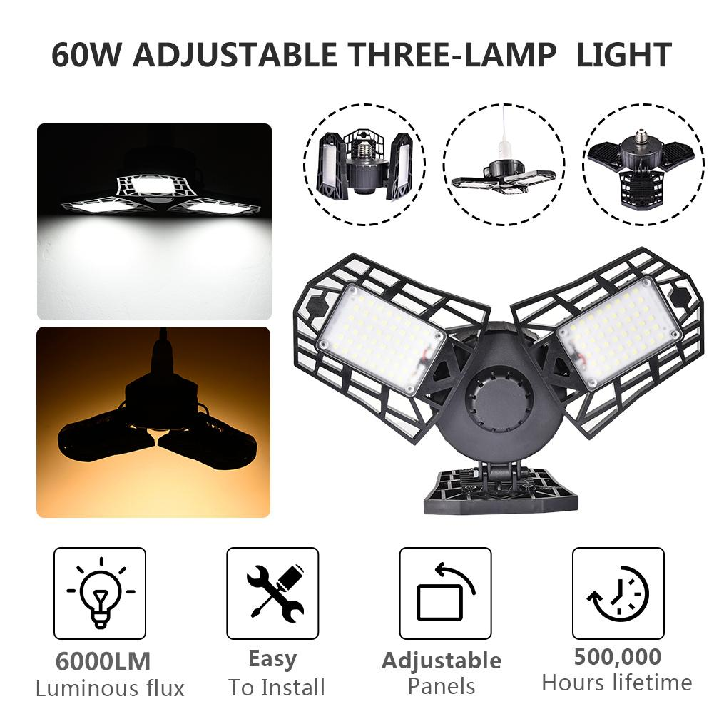 60W LED Deformable Garage Light E27 Industrial Light Workshop Factory Warehouse Ceiling Light Waterproof Mining Lamp 85-265v