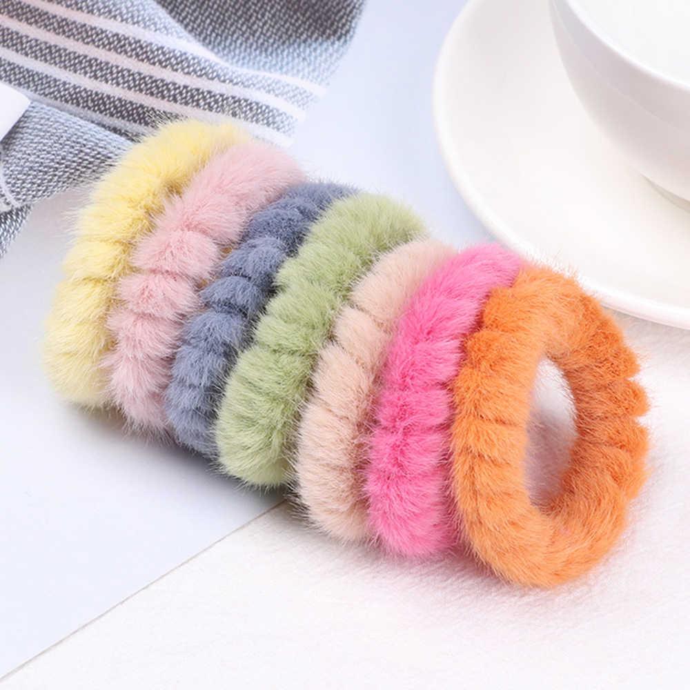1 pc inverno coréia colorido macio de pele feminino elástico corda de cabelo scrunchies borracha gravata rabo de cavalo titular bandana acessórios de faixa de cabelo