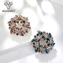 Viennois Ungu & Biru Warna Bauhinia Fllower Bros Pin Baru Fashion Perhiasan Berlian Imitasi untuk Wanita 2019 Pesta(China)