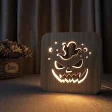 Pumpkin Ghost Led Nightlight Halloween Gift desk Night light USB plug 3D Warm Wooden hollow solid pine bedroom LED Table Lamp