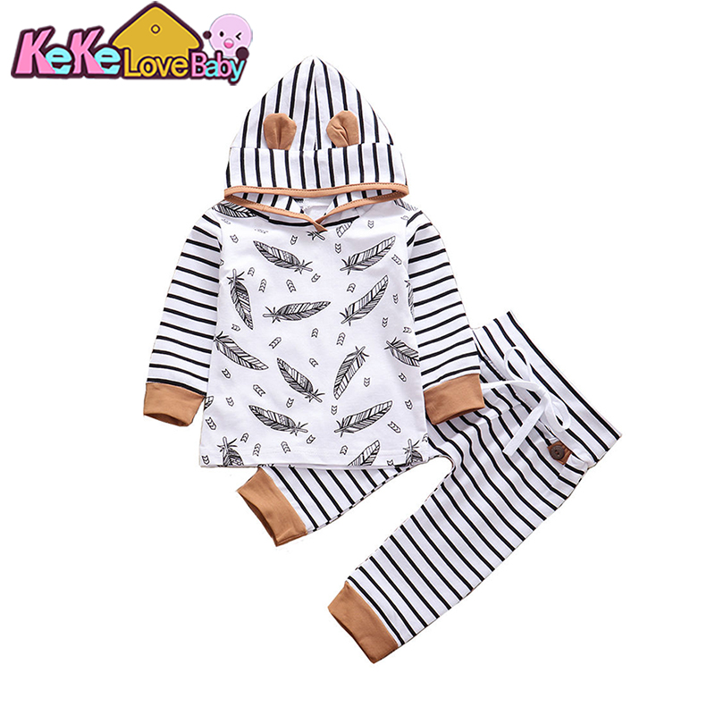 Newborn Infant Baby Boy Clothes Set Autumn Stripe Hooded Tops Pants Outfit Clothes Feather Printed Cute Baby Boys Clothing 0-24M