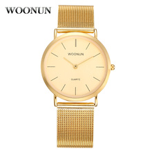 Новинка Производство 2020 WOONUN Top Brand Luxury Men% 27 Gold Часы Thin Mens Quartz Watches Men% 27s Stainless Steel Mesh Band Watches