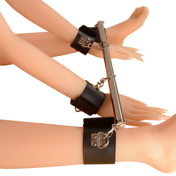 Sexy women Fetish Bondage Restraints Sex Toy For Couple Metal Adjustable Spreader Bar Leather SM Slave bdsm Handcuff Ankle Cuff 1