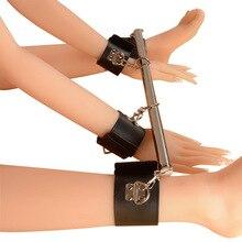 Sexy women Fetish Bondage Restraints Sex Toy For Couple Metal Adjustable Spreader Bar Leather SM Sla
