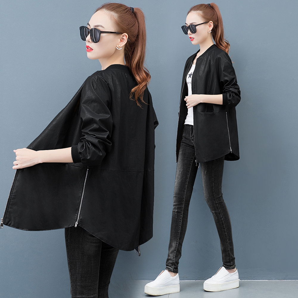 Korean version of the loose collar women's jacket 2019 new autumn jacket female casual pu   leather   short jacket female