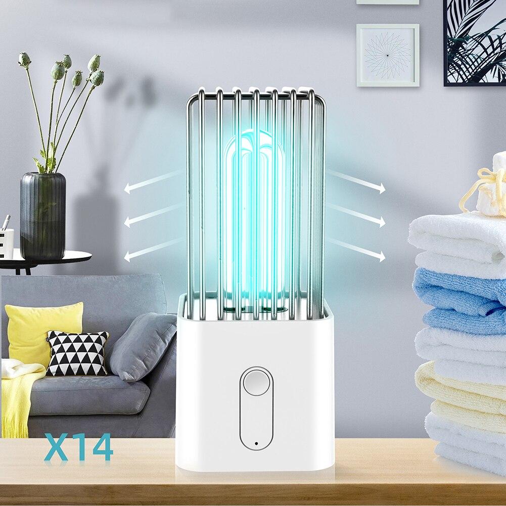 Quartz UV Germicidal Lamp Cordless Motion Sensor Auto Off UVC Disinfection Bactericidal Kill Mite Sterilizer Light Desk Lamp