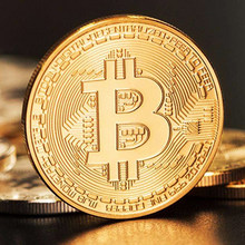 50pcs Gold Plated Bitcoin Coin Art Souvenir Great Gift Collectible Physical Metal Bit Coin Commemorative Coin With Acrylic Box