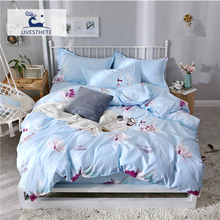 Liv-Esthete 2019 New Flower Blue Bedding Set Printed Soft Duvet Cover Pillowcase Striped Bed Linen Flat Sheet Or Fitted