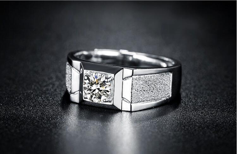 Hot selling exquisite new style aggressive men's frosted open ring Mossan diamond ring