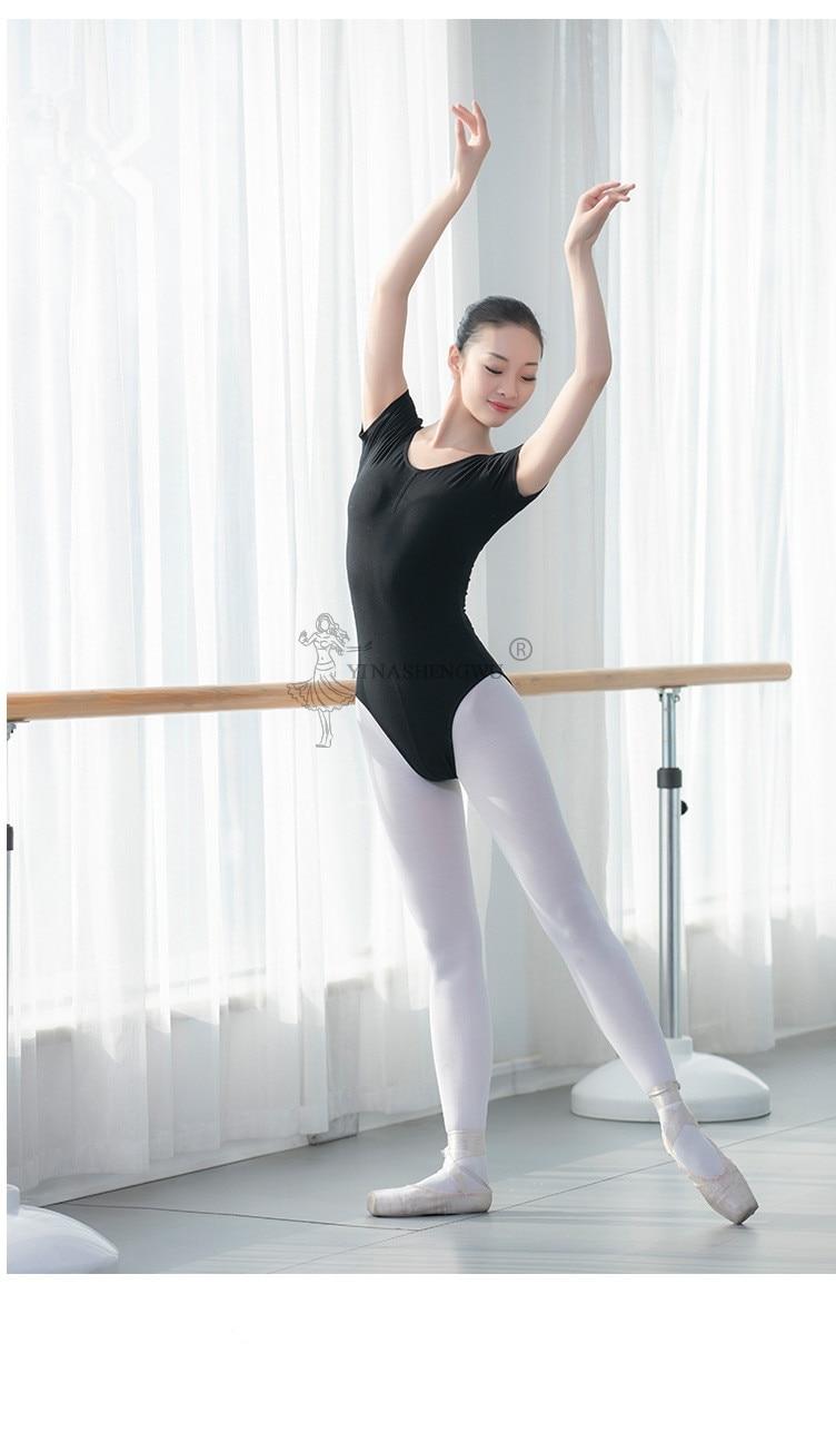 Women Ballet Leotard Dance Wear Adult Soft Cotton Short Sleeve Stretch Gymnastics Leotard Bodysuit Ballet Dress Dancewear