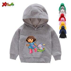 Image 4 - Sudaderas con capucha para niña, ropa de algodón para niño, sudaderas con capucha de dibujos animados blancos para niño pequeño, suéter para bebé de Primavera de 2 a 7 años 2020