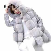 Rubilove faux fur coat With Hooded women  8 colours faux fur jacket Outwear women warm faux fur vest women