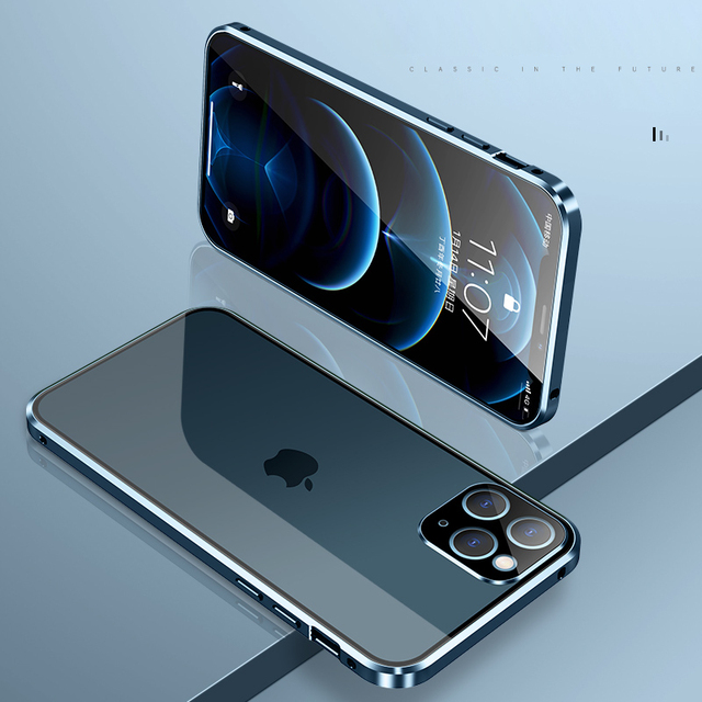 Magnetic Metal Glass Case For iPhone 12 Pro Max 12 Pro 11 Pro Max 11 Case Camera Glass Luxury Magnet 12 11 Full Protective Cover 3