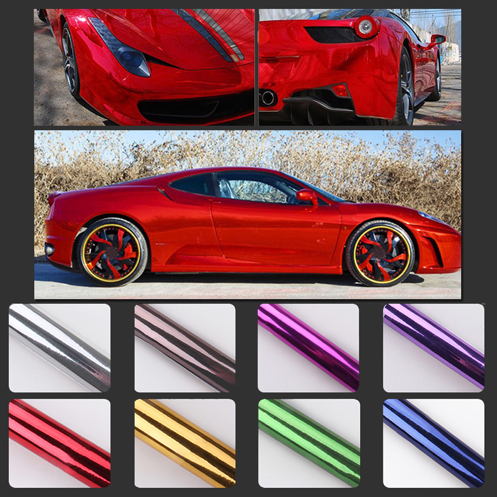 Vinyl Chrome Mirror Film Wrapping Synthetic Polymer PVC Sticker Decal Motorcycle Bike Auto Car-Styling