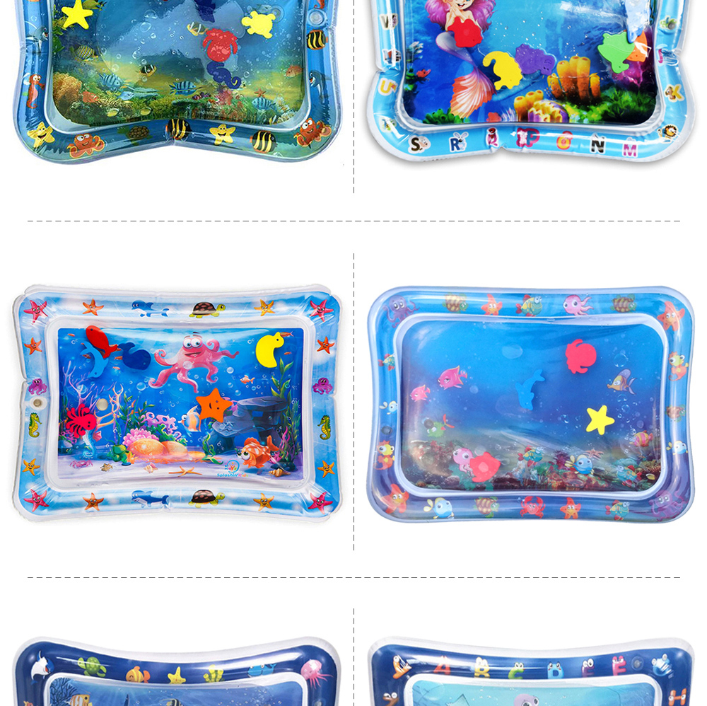 H49387fdd11154619b27286a185df7104v 36 Designs Baby Kids Water Play Mat Inflatable PVC Infant Tummy Time Playmat Toddler Water Pad For Baby Fun Activity Play Center