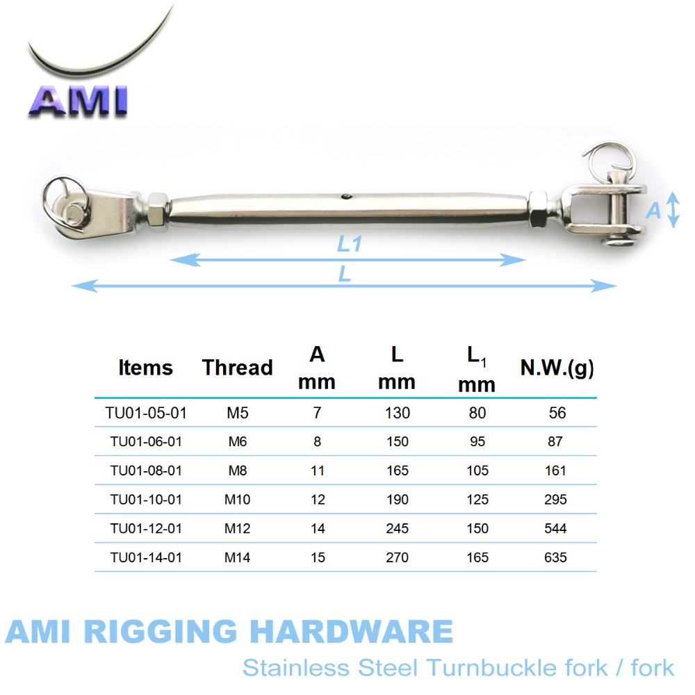 Stainless Steel 316 M8 8mm Turnbuckle Rigging Screw Jaw /& Jaw Marine Grade 5//16