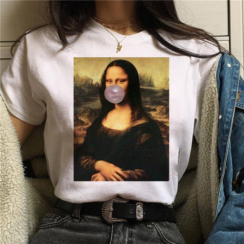 LUSLOS Mona Lisa Chewing Gum T Shirt Women Female New Fashion Top Summer Tshirt Aesthetic Funny Grunge Femme Hip Hop T-shirt